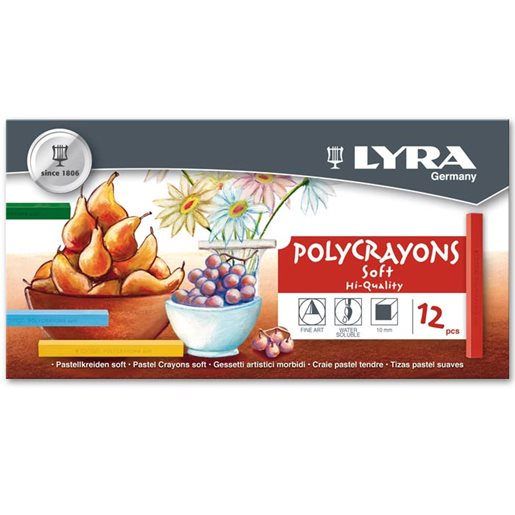 Torrpastell Polycrayons, 12 st