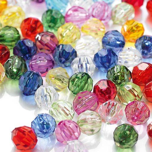 Plastpärlor transparenta fasetterade